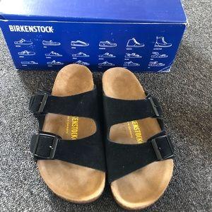 Birkenstock Black Arizona Suede Sandals